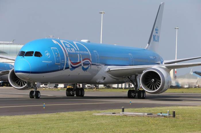 Pintura especial do 787-10 Dreamliner em alusão aos 100 anos da KLM
