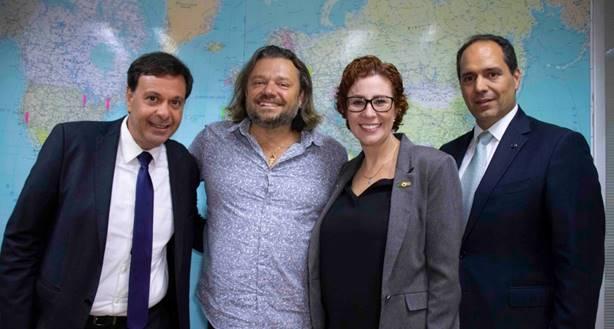 Gilson Machado, presidente da Embratur, Richard Rasmussen, deputada Carla Zambelli e o secretário de Ecoturismo, André Germanos (Foto: Pablo Peixoto)