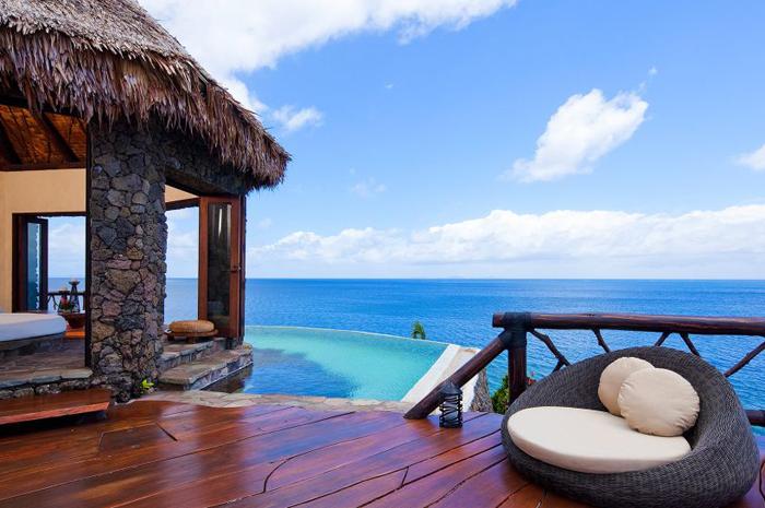 A suíte fica localizada no topo de uma das colinas da ilha Fiji