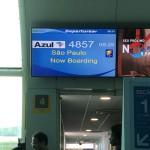 Anúncio do voo para Congonhas nos monitores do Aeroporto Santos Dumont