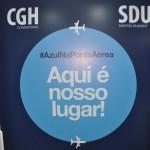 Anúncio da ponte aérea no Aeroporto de Congonhas