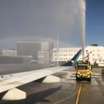 Batismo da aeronave no voo inagural da Ponte Aérea da Azul