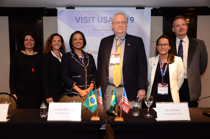 Jane Terra, do Visit Orlando, Jussara Haddad, Camille Richardson, David Potter, Daniele Cornejo, do Consulado dos EUA em São Paulo