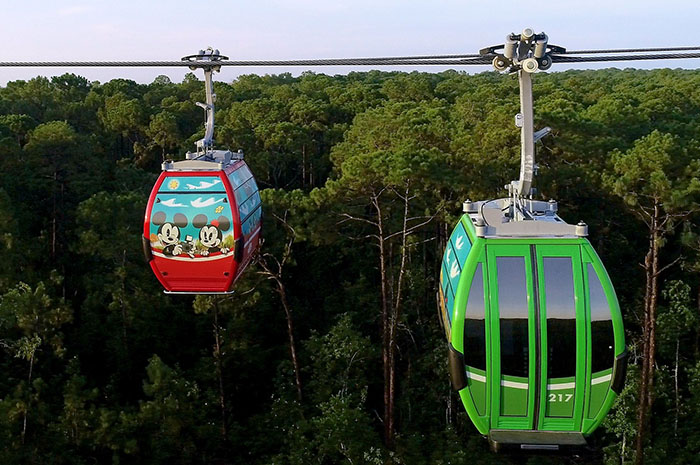 Disney Skyliner will begin carrying guests high above Walt Disney World Resort in Lake Buena Vista, Fla., on Sept. 29, 2019. The state-of-the-art transportation system will feature custom cabins that glide through the air, conveniently transporting guests between Disney's Hollywood Studios and Epcot to four resort hotels – Disney's Art of Animation Resort, Disney's Caribbean Beach Resort, Disney's Pop Century Resort and the new Disney's Riviera Resort, scheduled to open in December 2019. (Disney)