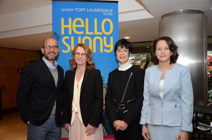 Gabriel Martinez, Tracy Vaughan e Marina Barros, do Visit Lauderdale, e Nicole King, do Hotel Ritz Carlton (Foto: Eric Ribeiro)