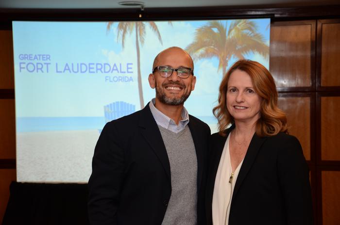 Gabriel Martinez e Tracy Vaughan, diretor de Vendas e vice-presidente de Vendas do Visit Lauderdale (Foto: Eric Ribeiro)