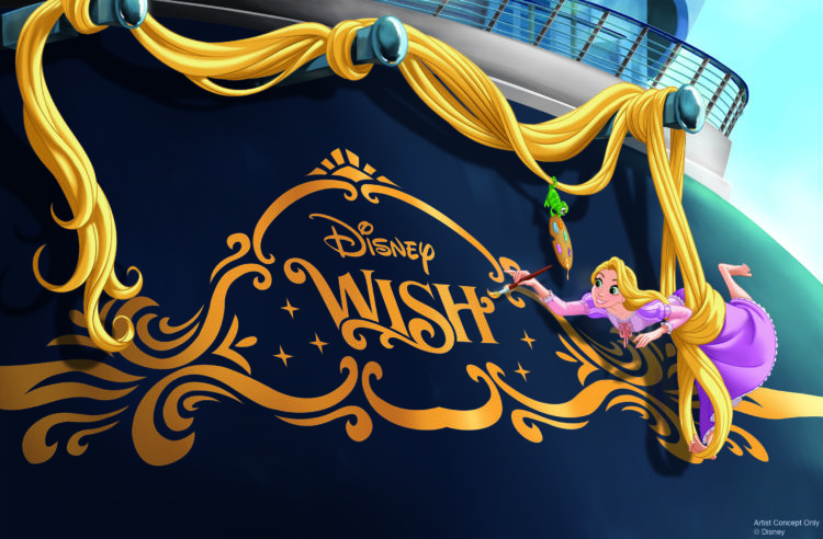 A beloved hallmark of Disney Cruise Line, it has been a tradition to adorn the back of Disney ships with an iconic character that reflects the theme of each vessel. The Disney Wish's stern will feature Rapunzel. Our favorite artsy princess, paintbrush in hand, uses her enchanted hair to suspend herself as she decorates the stern of the ship with the help of her feisty sidekick, Pascal. (Disney)