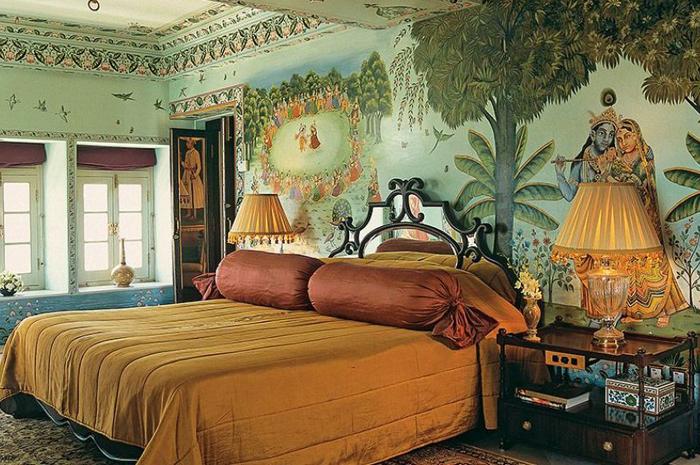O Shambhu Prakash Suite fica dentro de um palácio, que costumava ser o palácio de inverno do marajá Jagat Singh II