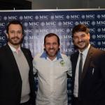 Sidney Martin, da Hometur, entre Eduardo Mariani e Ignacio Palacios, da MSC Cruzeiros