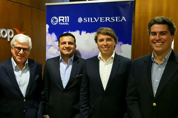 Juarez Cintra do Grupo Ancoradouro; Jean Saraiva, diretor de Vendas da Silversea Cruises no Brasil; Ricardo Amaral, diretor da R11 Travel; e Juarez Neto, do Grupo Ancoradouro