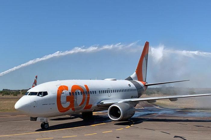 Aeronave da Gol no Aeroporto de Passo Fundo