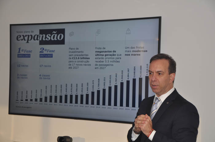 Adrian Ursilli, diretor Geral da MSC no Brasil apresentou as novidades da temporada.