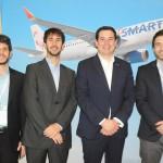 Bernardo Mascarenhas e João Pita, do GRU Airport, com Víctor Mejía e Pedro Asenjo, da JetSMART