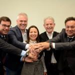 Gilson Machado Neto, presidente da Embratur, Ivan Hussni e Ana Clévia, do Sebrae, Marcelo Costa, da Setur-SP, e Aluizer Malab, do MTur