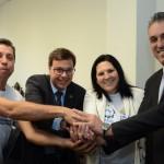 Roberto Carlos, da Toca da Onça Agência de Ecoturismo, Gilson Machado Neto, presidente da Embratur, Solange Dias, da AMTECI, e José Eduardo, do Sebrae