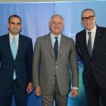 Simone Panfili, cônsul da Itália, Antonio Bernardini, Embaixador da itália, e Massino Brancaleone, Senior Vendas Globais