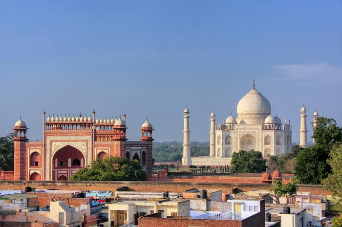 Rooftops of Taj Ganj neighborhood and Taj Mahal in Agra