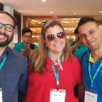 Tiago Idavino, da Go Ahead Intercâmbios, Fabiane Galdino, da Pique Viagens e Rodrigo Alencar, da Azzurro Viagens