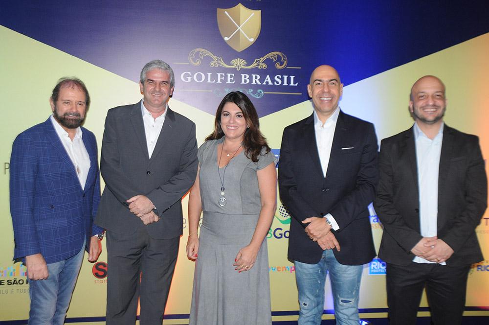 Guilherme Paulus, Carlos Favoreto, Alessandra Libman, Marcelo Alves e Felipe Michel, os grandes anfitriões da etapa do Rio de Janeiro do Torneio Golfe Brasil