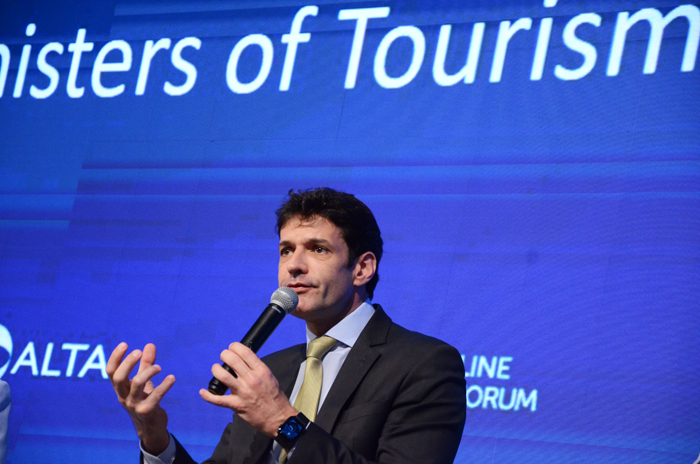 Marcelo Álvaro Antônio, ministro do Turismo do Brasil durante a ALTA Airlines Leaders Forum