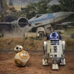 Os personagens BB-8 e R2-D2 estavam disponíveis para foto