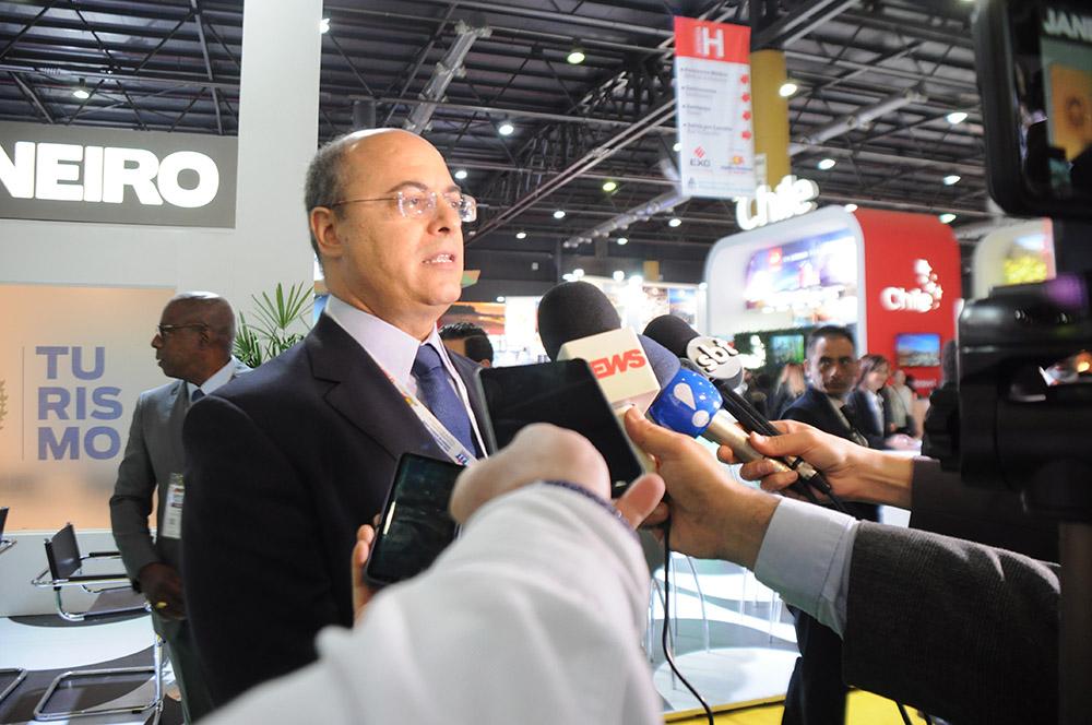 Wilson Witzel, governador do Rio, deu uma entrevista coletiva nesta FIT 2019