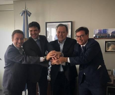 Ministro do Turismo do Brasil, Marcelo Álvaro Antônio; Ministro do Turismo da Argentina; Presidente da Embratur, Gilson Machado Neto e equipes realizam reunião em Buenos Aires