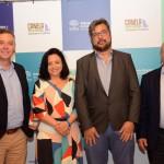 Ângelo Sanches, secretário de Turismo de Canela,  Monica Samia e Roberto Nedelciu, da Braztoa, e Constantino Orsolin, prefeito de Canela