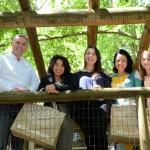 Angelo Sanches, secretario de Turismo de Canela,  Monica Kezan, da Braztoa, Camila Pavanati e Bianca Pletsch, da secretaria de Turismo de Canela, e Monica Samia, da Braztoa