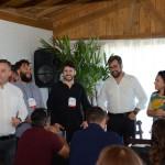 Angelo Sanches, secretario de Turismo de Canela, Rennê Nunes Pereira e Gustavo Nogueira, da UPLAB, com Roberto Nedelciu e Monica Samia, da Braztoa