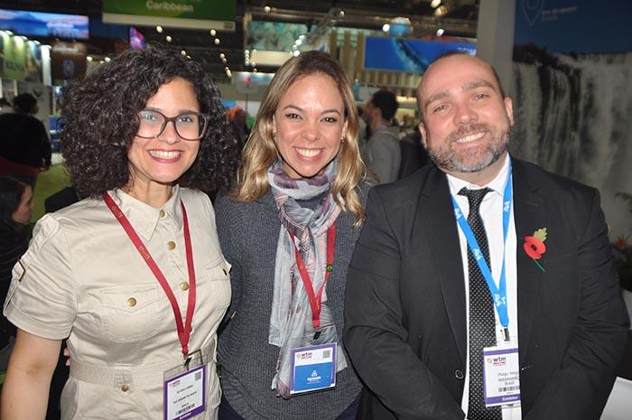 Bethise Cabral, da Secretaria de Turismo do Rio Grande do Norte, Caissa Moura, da Secretaria de Turismo de Salvador, e Hugo Veiga, da Secretaria de Turismo do Maranhão