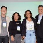 Cássio Aoqui, da ponteAponte, Helena Costa, da UnB, Gabrielle Nunes, coordenadora geral de Sustentabilidade e Turismo do MTur, e Fernando Kanni, da Horwath HTL