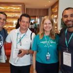 Carlos Roberto, da RRG, e Junia Clemente, da Ancoradouro, entre Cláudio Soares e Marcus Lopes, da Turismo 10