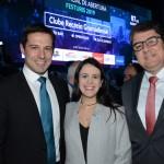 Eduardo Zorzanello, do Festuris, Juliana Assumpção e Marcos Lucas, presidente da Aviesp