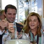 Eduardo Zorzanello e Marta Rossi durante a abertura da feira