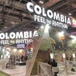 Estande da Colômbia, com a camoanha %22Feel The Rhythm%22
