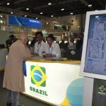 Estande do Brasil com a nova marca de promoção internacional