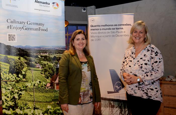 Margaret Grantham, do DZT, e Anette Täuber, da Lufthansa