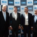 Ralf Aasmann, diretor executivo da Air Tkt, Juarez Cintra Neto, presidente da Air Tkt, com Alexandre Cavalcanti e José Roberto Trinca, da American Airlines