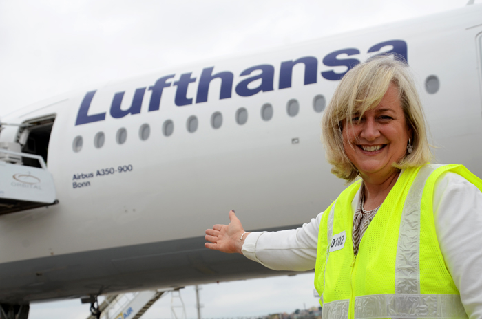 Anette Taueber e o Airbus A350-900