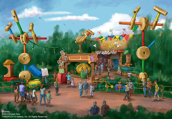Roundup Rodeo BBQ is a new table-service restaurant coming to Toy Story Land in 2020 as guests live their adventures together at Disney's Hollywood Studios at Walt Disney World Resort in Lake Buena Vista, Fla. This artist concept image exemplifies how guests will be immersed with all their toy pals in a fun, family-friendly environment constructed from Andy's favorite larger-than-life play sets and games. (Disney)