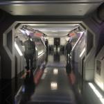 Corredores da Star Destroyer onde ficam os rebeldes presos
