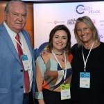 Roy Taylor, do M&E; Flávia Didomenico, presidente da Santur; e Rosa Masgrau, do M&E