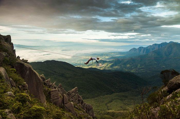 Highline em Resende, no Planalto do Parque Nacional do Itatiaia - foto