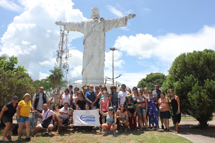 Participantes do fam no Morro do Cristo Rei, no morro de São Felipe em Corumbá