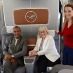 Luis Sobrinho, da Setur-SP, Anette Taueber, da Lufthansa, e Júlia Orrico, da GRU Airport