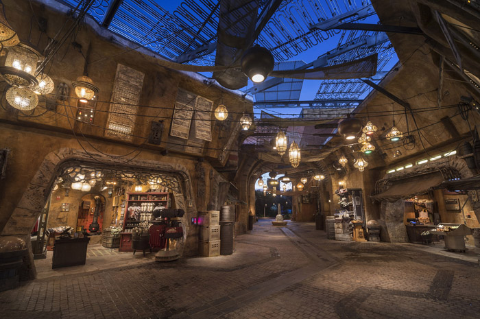 Guests visiting Star Wars: Galaxy's Edge at Disneyland Park in California and opening Aug. 29, 2019, at Disney's Hollywood Studios in Florida will be able to wander the lively marketplace in Black Spire Outpost and find a robust collection of merchant shops and stalls filled with authentic Star Wars creations. (Kent Phillips, photographer)