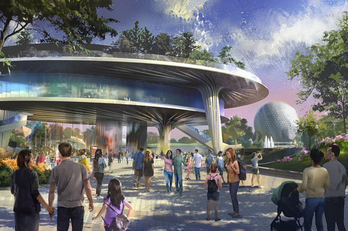 Epcot at Walt Disney World Resort in Florida is undergoing a historic transformation, bringing the next generation of immersive storytelling to life through a plethora of new attractions and experiences. A new pavilion will be home base for Epcot's signature festivals. The beautiful three-level structure will feature a plaza level, a middle expo level, and a park that sits in the sky on the top level, complete with a stunning view of World Showcase. (Disney)