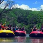 Os participantes realizaram a descida do Rio Formoso, um dos mais importantes de Bonito, em botes