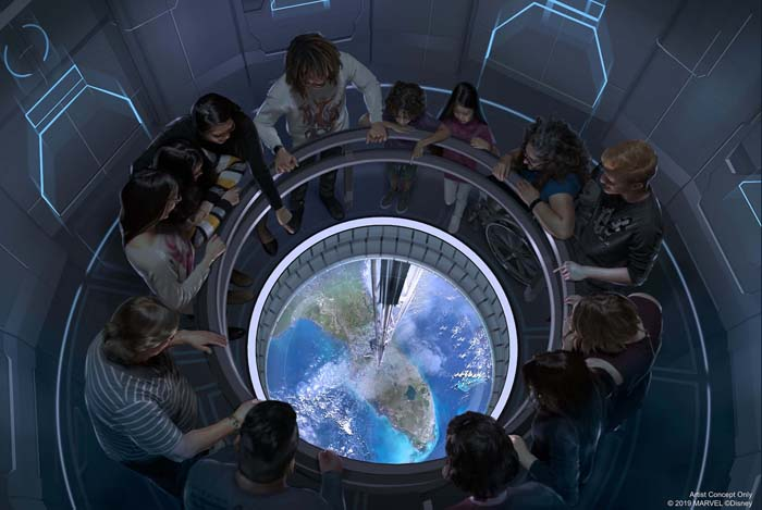 In this artist concept rendering, guests travel in a space elevator 220 miles above the Earth to dine at Space 220, the new restaurant opening this winter in Epcot at Walt Disney World Resort in Lake Buena Vista, Fla. (Disney)